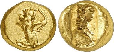 Dareike, ca. 505-480. Aus Auktion Gorny & Mosch 232 (2015), 297. - Diese berühmte Goldmünze der Antike, die bis zur Epoche Alexanders geprägt wurde, hat ihren Namen von Dareios I.