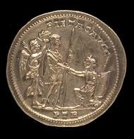 Part of the Beaurains Hoard. Medallion of 5 aurei of Constantius I. Reverse depicting Constantius raising Britannia from her knees. Photo: The Trustees of the British Museum.