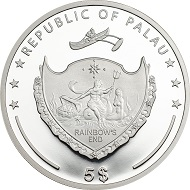 Palau / 5 Dollars / Silver .999 / 1 Ounce / 38,61mm / Mintage: 2500.