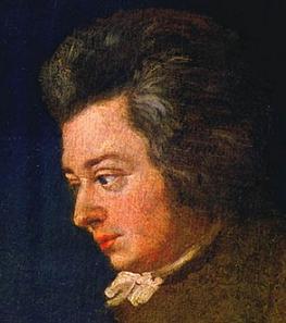 Wolfgang Amadeus Mozart, painting by Joseph Lange.