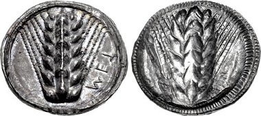 Lot 38: LUCANIA, Metapontion. Circa 510-470 B.C. Nomos. Noe Class IX, 191. Superb extremely fine. From the estate of Thomas Cederlind. Estimate: $2.000.
