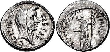 Lot 668: Julius Caesar. February-March 44 B.C. Denarius. Crawford 480/13. Good very fine. From the Korwin Collection. Estimate: $3,000.