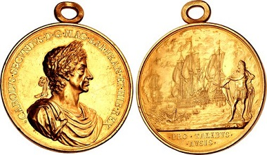 Lot 1248: STUART. Charles II. 1660-1685. Medal. Battle of Lowestoft. By J. Roettiers. Struck 1665. MI 503/139; Eimer 230. Extremely fine. Extremely rare in gold. Estimate: $50,000.
