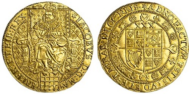Lot 1018: James I (1603-25), Rose-Ryal, N.2108; S.2632; Schneider 77 same dies. Almost extremely fine, very rare. Estimate: £15,000-20,000.