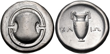 Lot 71: Boeotia, Thebes. Circa 368-364 BC. Stater. Hepworth 69; BCD Boiotia 531; HGC 4, 1332. VF, lightly toned. Well centered. From the Dr. Lawrence D. Sporty Collection. Estimate: $300.
