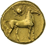 Lot 91: CARTHAGE: Anonymous, ca. 264-241 BC, electrum tridrachm.