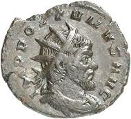 Prägung des Aureolus im Namen des Postumus in Mailand. Antoninian, 267/8. Rv. VIRTVS A-EQVIT Romulus n. r. Aus der kommenden Auktion Jacquier (16.9.16), 613. Gutes sehr schön. Taxe: 500 Euro.