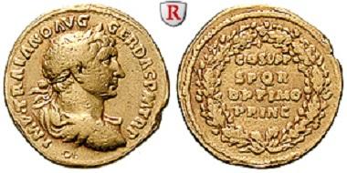 Rom. Traianus. Aureus 103-111. Gutes sehr schön. Äußerst selten. 4.500 Euro.