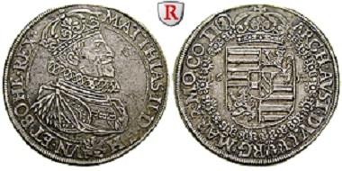 Joachimstal. Matthias II. Reichstaler 1612. Sehr schön bis vorzüglich. Sehr selten. 4.200 Euro.