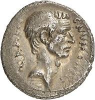 Denarius of C. Numonius Vaala, Rome, 43 BC. With portrait of Cassius. Cr. 514/2. From Künker Auction 280 (2016), 392. Estimate: 4,000 euros.