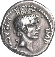 Denar des L. Plaetorius Cestianus, Lagermünzstätte in Kleinasien oder Nordgriechenland, 42 v. Chr. Mit Porträt des Brutus. Cr. 508/3. Aus Auktion Künker 124 (2008), 8483. Schätzung: 30.000 Euro. Zuschlag: 90.000 Euro.