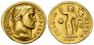 Maximinus II. Daia, Aureus, Alexandria.