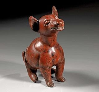 Los 5: Hohlfigur eines sitzenden Hundes, Mexiko, Colima Westmexiko. Ca. 200 v. Chr.-300 n. Chr. Taxe: 3.000 EUR.