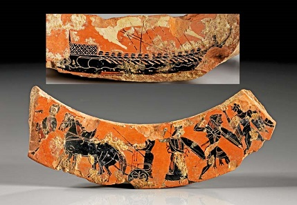 Los 699: Fragment eines Gefäßrandes. Attisch, 6. Jh. v. Chr. Taxe: 1.000 EUR.