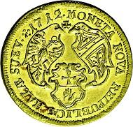 Los 3274: Hall in Schwaben. Dukat 1712 (im Stempel geändert aus 1705). Fast Stempelglanz. Taxe: 3.000 Euro.