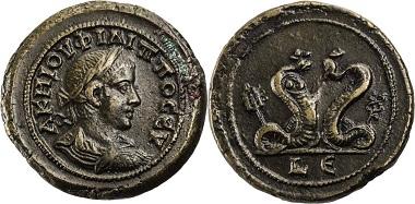 Los 279: Ägypten, Alexandria, Philippus II., 247-249 n. Chr., AE-Drachme, Jahr 5. Emmett 3616, RR, Prachtexemplar, vorzüglich+. Taxe 2.000,- Euro.