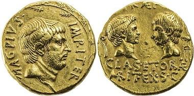 Los 305: Sextus Pompeius Magnus, gest. 35 v. Chr., AV-Aureus, 37/36 v. Chr., Mzst. auf Sizilien. Crawf. 511/1, R, vorzüglich-/sehr schön+, Taxe 60.000,- Euro.