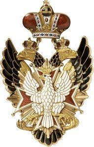 Ein frühes Exemplar: das Kleinod des russischen Ordens vom Weißen Adler, von Keibel und Kämmerer in Sankt Petersburg von 1840. RR II. Taxe: 40.000,- Euro.