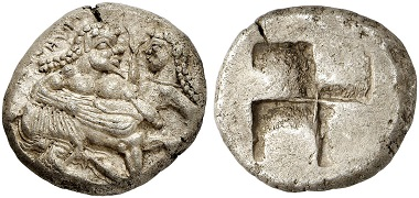 Lot 111: ORRESCII (Macedonia). Stater, ca. 500-480. Extremely fine. Estimate: 22,000,- euros.