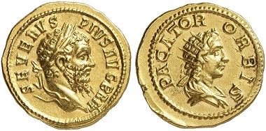 Los 532: SEPTIMIUS SEVERUS, 193-211. Aureus, nach 210, Rom. Stempelglanz. Taxe: 50.000,- Euro.