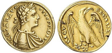 Lot 4129: SICILY. Frederick II, 1197-1220-1250. Augustalis no date, Messina. Very rare. Very fine. Estimate: 7,500,- euros.