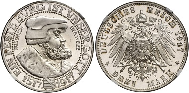 Los 4769: DEUTSCHES KAISERREICH. Friedrich August III., 1904-1918. 3 Mark 1917 E.