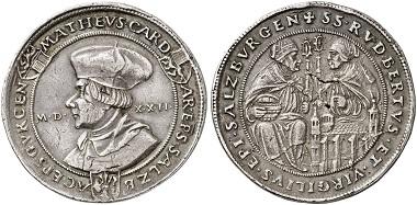 Los 5092: SALZBURG. Leonhard von Keutschach, 1495-1519. Guldiner 1522. Sehr selten. Sehr schön. Taxe: 2.500,- Euro.