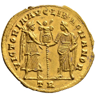 Magnentius. Gold medallion of 1.5 solidi, Treves, 351/353. Unique. Extremely fine.