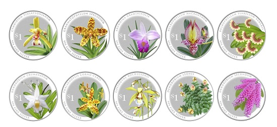 The Splendour of Native Orchids Series Coin Set / Singapore / $1 / Silver .999 / 8.56g / 24.66mm / Mintage: 4,000.