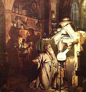 Der Alchimist auf der Suche nach dem Stein der Weisen, Ölgemälde von Joseph Wright of Derby, 1771.
