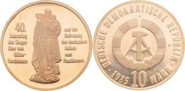 DDR, 40 Jahre Befreiung, Materialprobe 10 Mark 1985.
