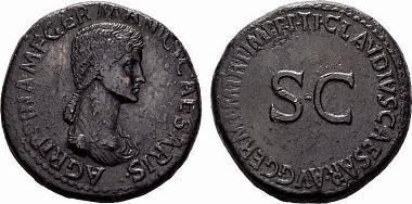 Römische Kaiserzeit, Agrippina mater, Sesterz 42-43 n. Chr., Rom.