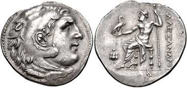 Lot 209: PAMPHYLIA, Side. Circa 210 BC. AR Tetradrachm. In the name and types of Alexander III of Macedon. Good VF, toned. Extremely rare. From the collection of Will Gordon. Estimate: 200 USD.