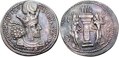 Lot 297: SASANIAN KINGS. Sabuhr (Shahpur) I. AD 240-272. AR Drachm. Mint I (