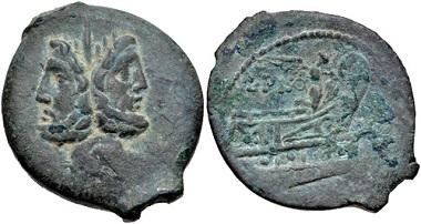 Lot 465: L. Calpurnius Piso Frugi. 90 BC. Æ As. Rome mint. Good VF, green patina, some deposits. From the RBW Collection. Estimate: 200 USD.
