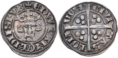 PLANTAGENET. Edward I. 1272-1307. AR Penny. New coinage, class 7a. London (Tower) mint. Struck circa 1292-1296. Good VF, toned. From the William B. Porter Collection. Rare. Estimate: 150 USD.