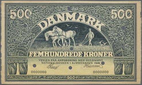 Los 504844: Dänemark: 500 Kronen 1919 Specimen P. 24cs, höchst seltene Banknote, Nullnummern, frühes Datum. Erhaltung: aUNC. Ausruf: 500,- Euro.