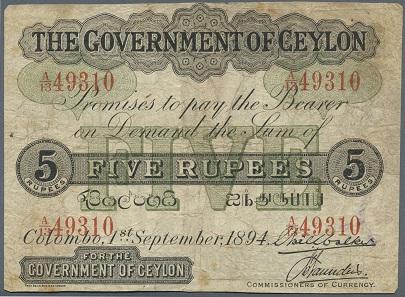 Nr. 496620: Ceylon: 5 Rupees 1894, P. 11a, höchst seltene und schwer zu findende Banknote, auf der Rückseite beschrieben, Erhaltung: F-. Ausruf: 500,- Euro.