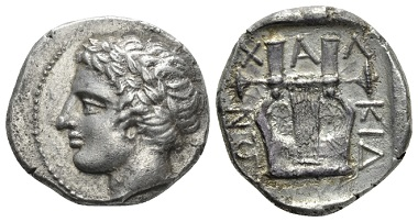 Lot 105: Macedonia, Olinthus Tetradrachm, circa 420-417. About Extremely Fine. Starting bid: £ 1000.