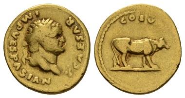 Lot 427: Titus Caesar, 69-79, Aureus, circa 76. Very Fine. Starting bid: £ 1000.