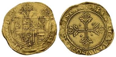 Lot 601: Spain, Barcelona, Carlos I El Emperador, 1516-1556. Ducado - Escudo 1536-1537. For the Expedition in Tunisia. Good Very Fine. Starting bid: £ 500.
