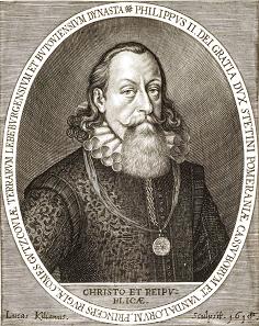 Portrait of Philip II of Pomerania, painted by Sebastian Hepp, copperplate engraving by Lucas Kilian.