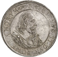5021 - Reichstaler 1617, Stettin, commemorating the centennial jubilee of the beginning of the Reformation? Almost extremely fine. Ex Dr Heinrich Neumann Collection, Künker Auction 283 (September 29, 2016), lot 5021. Estimate: 3,000 euros.