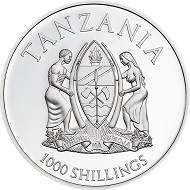 Tansania / 1000 Shillings / Silber .999 / 25 g / 38,61 mm / Auflage: 2500.