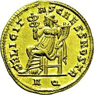 Lot 2619: Maximinus II. Daia. AD 309-313. Aureus. Estimate: 25,000 EUR.