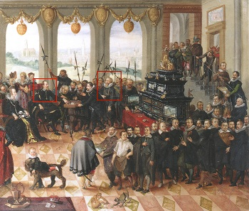 Philip Hainofer (r.) delivers the Pomeranian Art Cabinet to the Duke of Pomerania (l.), which included a small