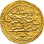 Lot 23: Gold Sultani of Sultan Mahmud, dated 1148, very fine-extremely fine, RRRR (obv). CHF 6,000.