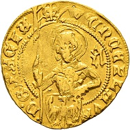 Lot 2037: Bohemia. Wenzel IV. Gold gulden no year, Auerbach mint. Extremely rare. CHF 15,000.