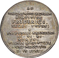 Lot 2157: Brandenburg-Preussen. Silver medal 1708. On the restoration of the Tragheimer Church. Extremely fine-FDC. CHF 2,500.