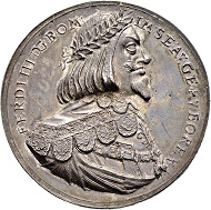 Lot 4235: Silver medal 1650 on the return of the Duchy of Upper Austria to the rule of Ferdinand III). Extremely fine and extremely rare. CHF 5,000.